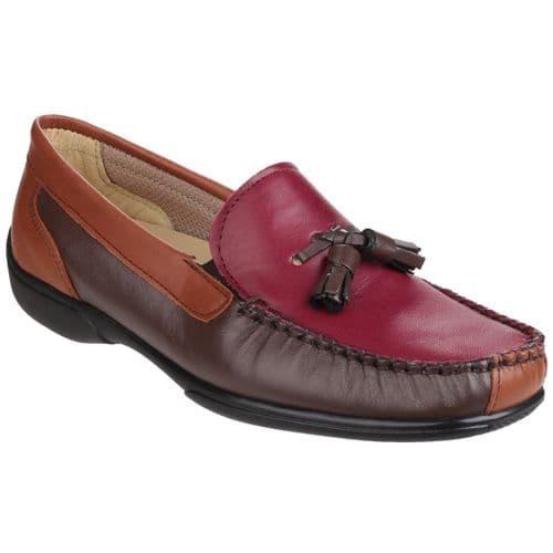 Cotswold Biddlestone Slip On Ladies Shoes Chestnut / Tan / Wine